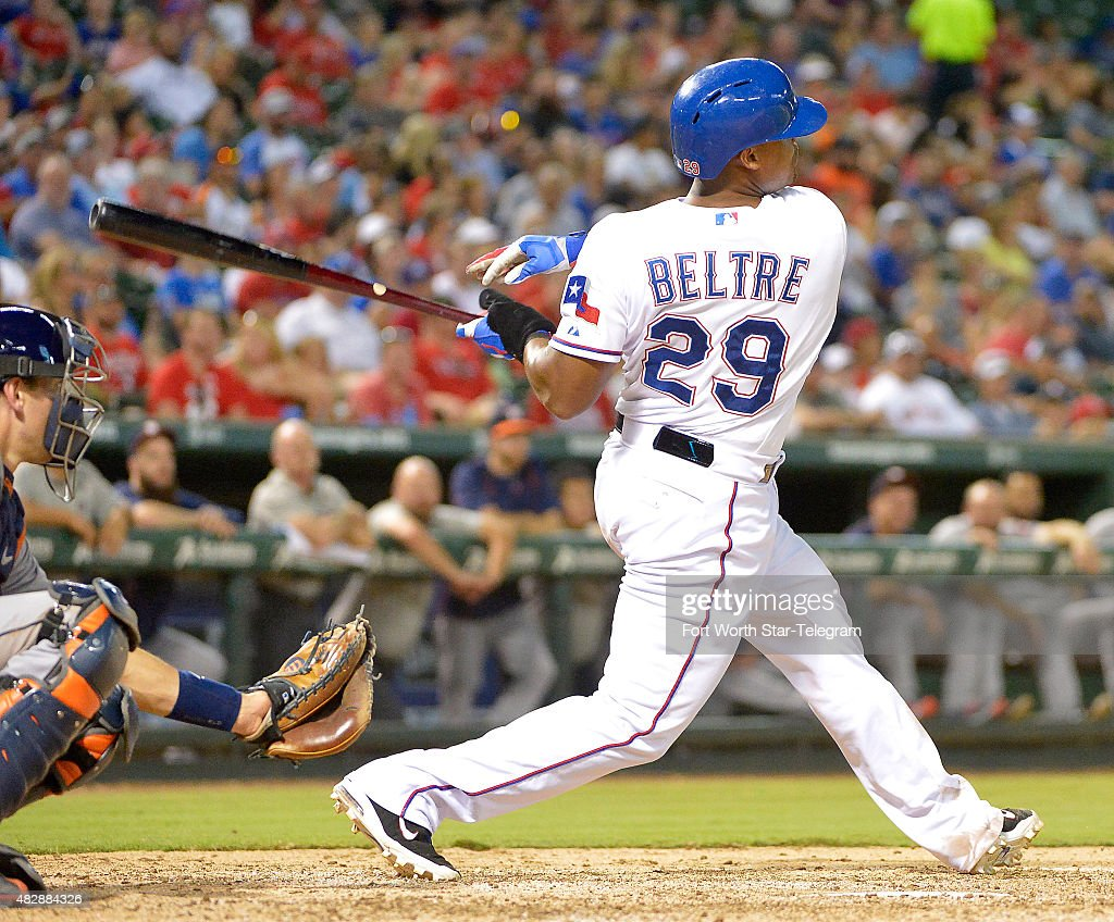 Texas Rangers third baseman <a gi-track='captionPersonalityLinkClicked' href=/galleries/search?phrase=Adrian+Beltre&family=editorial&specificpeople=202631 ng-click='$event.stopPropagation()'>Adrian Beltre</a> (29) hits a home run and hits for the cycle during the fifth inning on Monday, Aug. 3, 2015, at Globe Life Park in Arlington, Texas.
