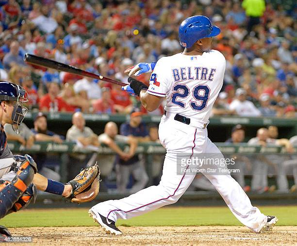 Texas Rangers third baseman Adrian Beltre hits a home run and hits for the cycle during the fifth inning on Monday Aug 3 at Globe Life Park in...