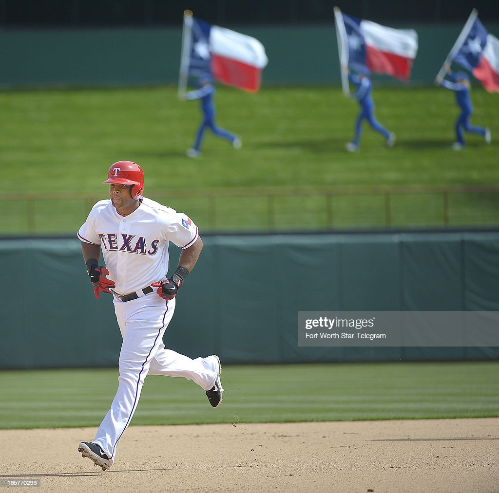 Texas Rangers third baseman Adrian Beltre (29) rounds the bases on a home run against the Los Angeles Angels in the seventh inning at Rangers Ballpark in Arlington, Texas, Friday, April 5, 2013. The Rangers beat the Angels, 3-2.