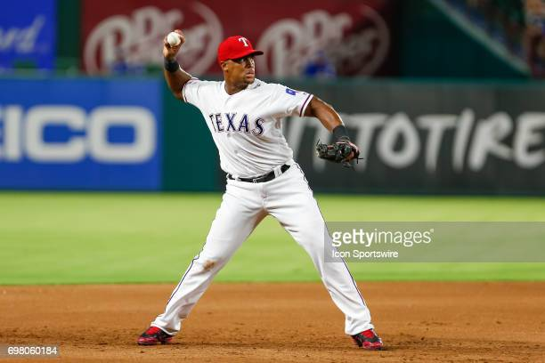 Texas Rangers third baseman Adrian Beltre throws after making a play on a ground ball during the MLB game between the Toronto Blue Jays and Texas...