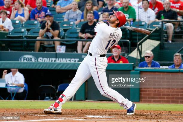 Texas Rangers third baseman Joey Gallo looks up after popping up a pitch during the MLB game between the New York Mets and Texas Rangers in June...