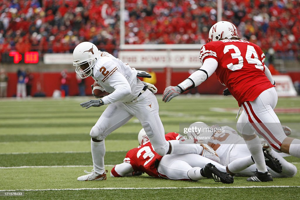 Texas receiver Billy Pittman runs with a reception during action between the Texas Longhorns and Nebraska Cornhuskers on October 21, 2006 at Memorial Stadium in Lincoln, Nebraska. Texas won the game 22-20.