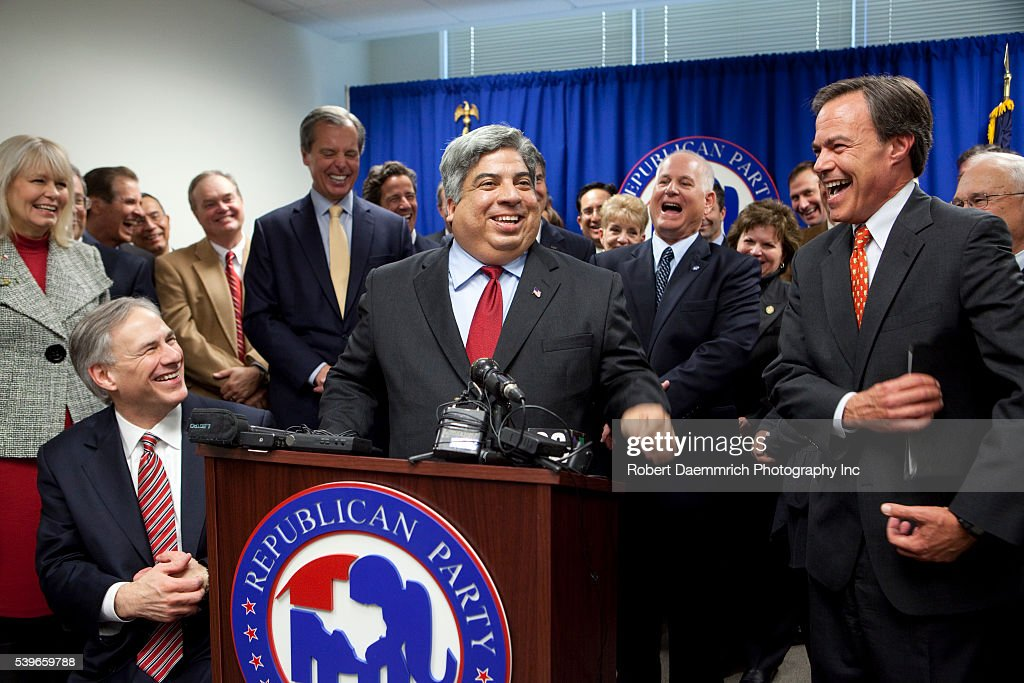 Texas Republicans are all smiles at the defection of Representative Aaron Pena from the Democratic to the Republican party at a press conference...