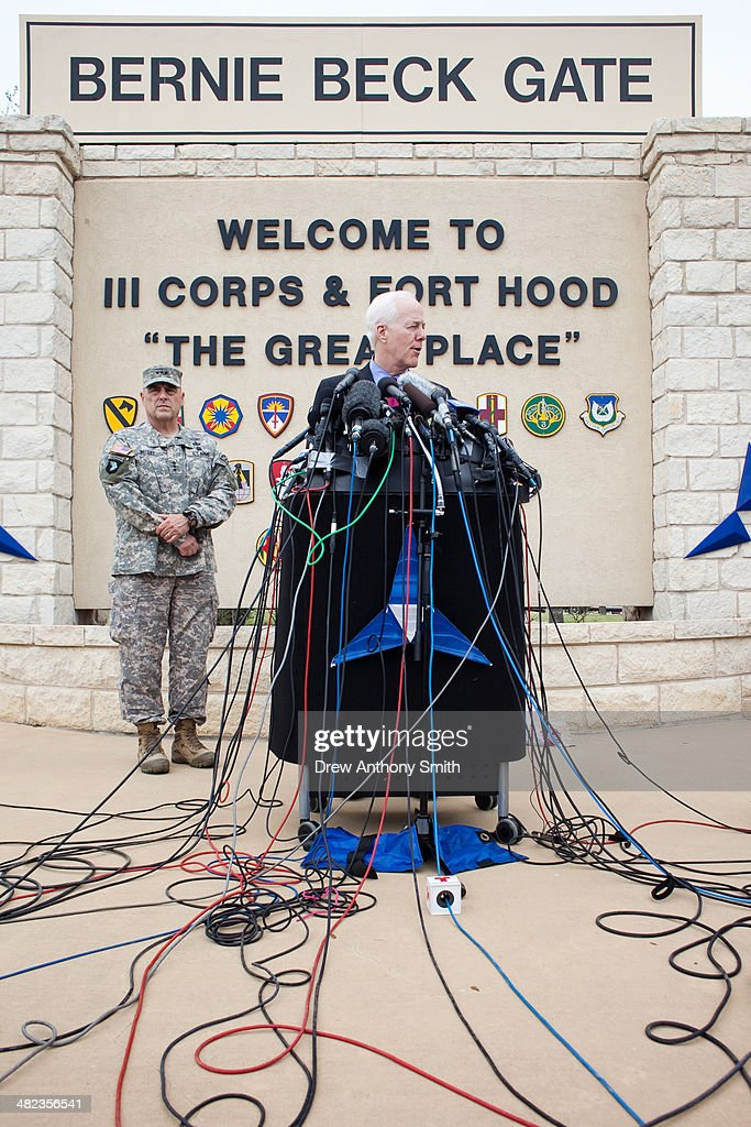 Texas Senator <a gi-track='captionPersonalityLinkClicked' href=/galleries/search?phrase=John+Cornyn&family=editorial&specificpeople=154884 ng-click='$event.stopPropagation()'>John Cornyn</a> speaks to press during a press conference on April 3, 2014 in Fort Hood, Texas. The investigation continues into why Lopez did the shooting on the base.