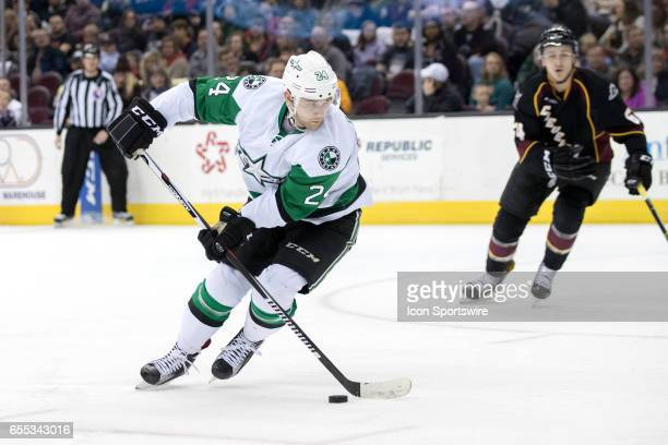 Texas Stars LW Brandon DeFazio looks to shoot during the first period of the AHL hockey game between the Texas Stars and Cleveland Monsters on March...