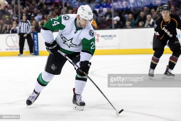 Texas Stars LW Brandon DeFazio shoots and scores during the first period of the AHL hockey game between the Texas Stars and Cleveland Monsters on...