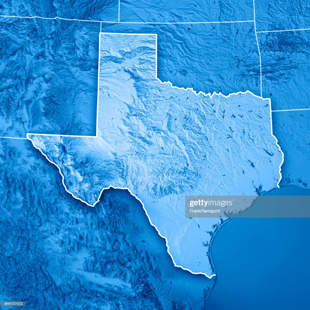 Texas State Usa D Render Topographic Map Blue Border Stock Photo - Usa map texas state