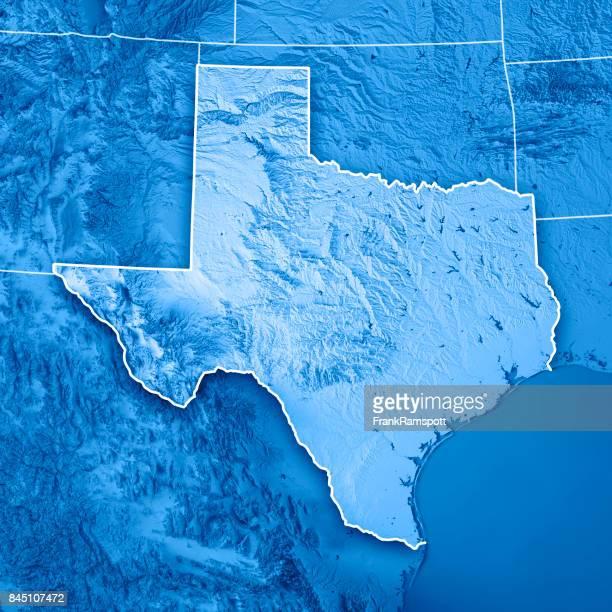 Texas USA estado 3D Render topográfico mapa frontera azul