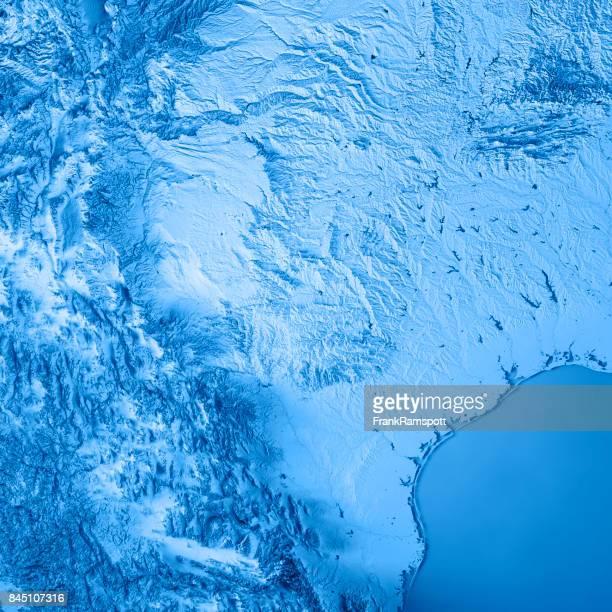 Estado de Texas USA azul de mapa topográfico de Render 3D