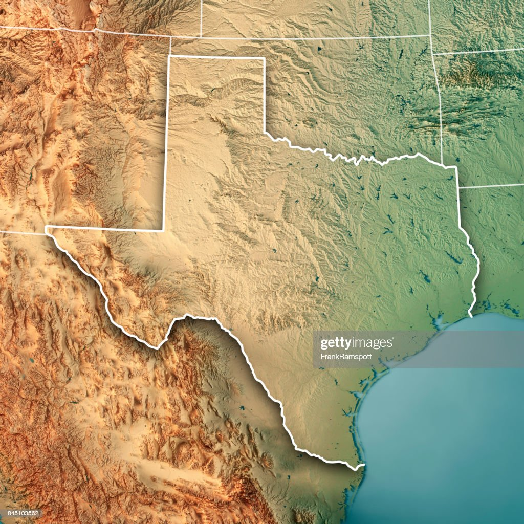 Texas State Usa D Render Topographic Map Border Stock Photo - Usa texas map