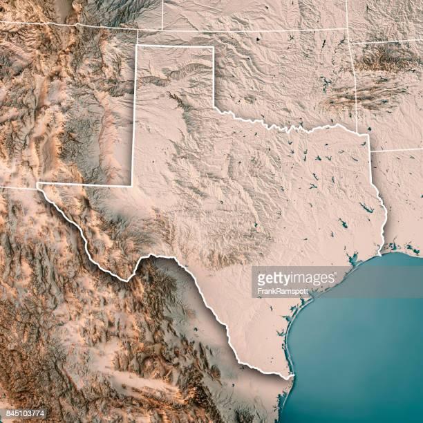 Estado de Texas USA Render 3D mapa topográfico Neutral
