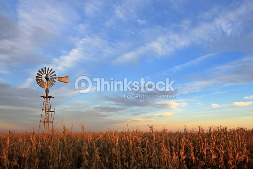 Texas style westernmill windmill at sunset, Argentina : Foto de stock