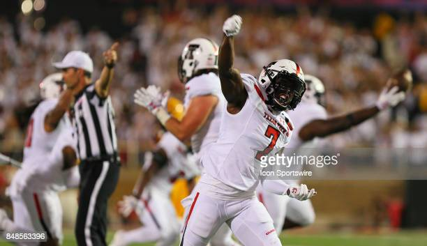 Texas Tech defensive back Jah'Shawn Johnson celebrates a fumble recovery during the Texas Tech Raider's 5245 victory over the Arizona State Sun...