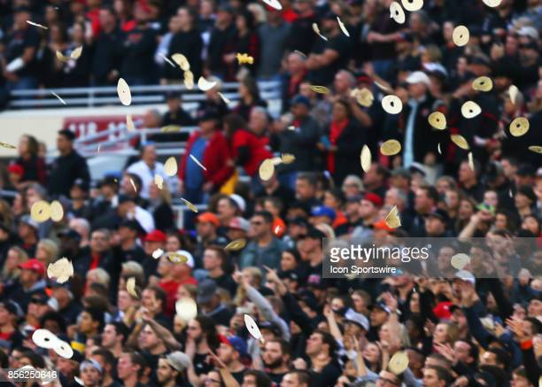 Texas Tech fans throw tortillas as the ball is kicked off at the start of the Texas Tech Raider's 4134 loss to the Oklahoma State Cowboys on...