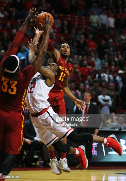 Texas Tech guard Keenan Evans draws a foul during the Texas Tech University Red Raider's 8280 overtime loss to the Iowa State Cyclones on February 20...