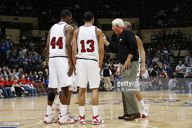 Texas Tech head coach Bob Knight goes onto the floor to shout instructions during the CBE Classic consolation game between Texas Tech and Air Force...