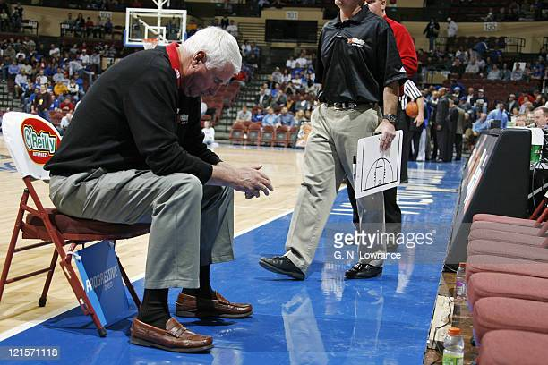 Texas Tech head coach Bob Knight has a moment to himself prior to action during the CBE Classic consolation game between Texas Tech and Air Force at...