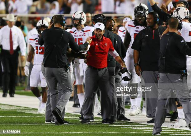 Texas Tech head coach Kliff Kingsbury and defensive coordinator David Gibbs celebrate the game ending defensive stop during the Texas Tech Raider's...