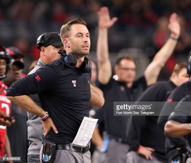 Texas Tech head coach Kliff Kingsbury watches a successful 27yard field goal attempt against Baylor in the fourth quarter at ATT Stadium in Arlington...