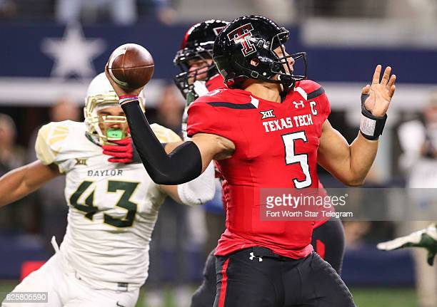 Texas Tech quarterback Patrick Mahomes II fires a touchdown pass against Baylor in the second quarter at ATT Stadium in Arlington Texas on Friday Nov...