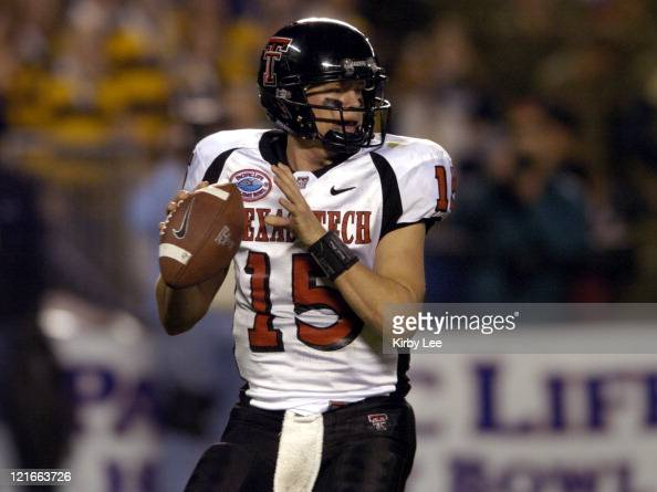Texas Tech quarterback Sonny Cumbie drops back to pass during 4531 victory over Cal in the Pacific Life Holiday Bowl at Qualcomm Stadium in San Diego...