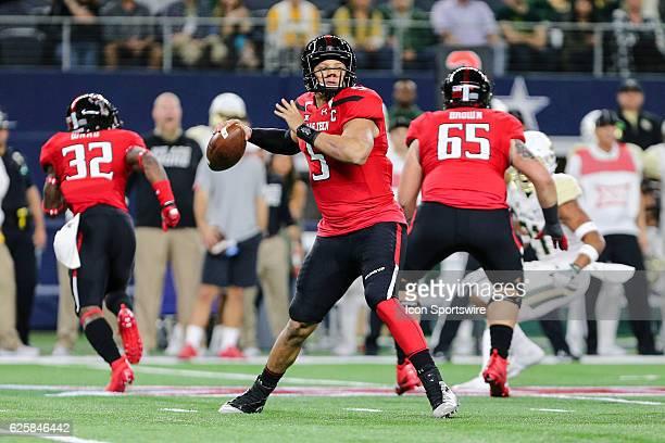 Texas Tech Red Raiders quarterback Patrick Mahomes II looks downfield for an open receiver during the Texas Farm Bureau Insurance Shootout between...