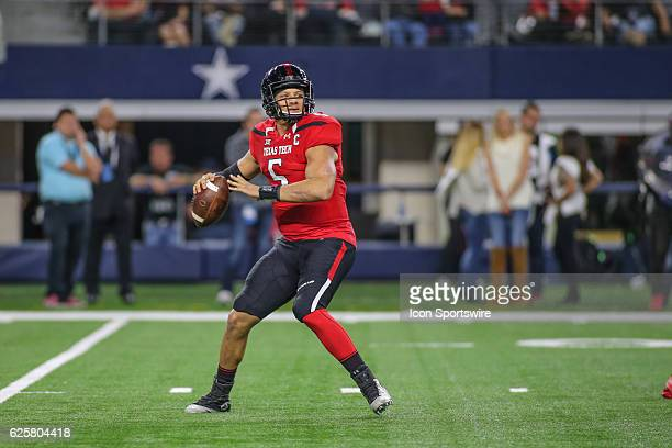 Texas Tech Red Raiders quarterback Patrick Mahomes II passes during the NCAA football game between Baylor University and Texas Tech on November 25 at...