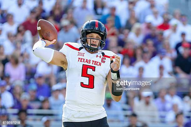 Texas Tech Red Raiders quarterback Patrick Mahomes II passes the football downfield during the game between the TCU Horned Frogs and the Texas Tech...