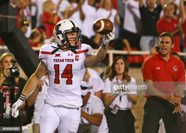 Texas Tech wide receiver Dylan Cantrell celebrates a touchdown during the Texas Tech Raider's 5245 victory over the Arizona State Sun Devils on...