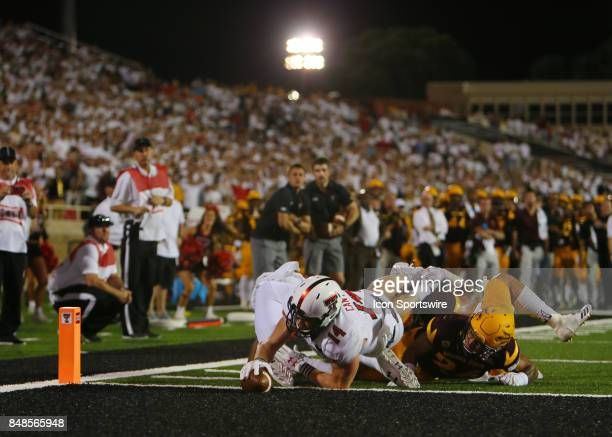 Texas Tech wide receiver Dylan Cantrell scores the game winning touchdown during the Texas Tech Raider's 5245 victory over the Arizona State Sun...