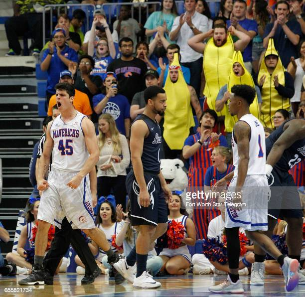TexasArlington Mavericks forward Jorge Bilbao reacts after being fouled in the first half against Akron during their second round game of the...