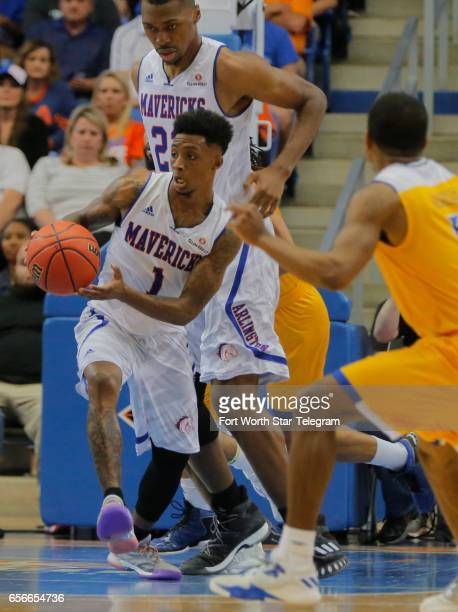 TexasArlington's Erick Neal steals the ball and brings it down court against Cal State Bakersfield in a National Invitation Tournament quarterfinal...
