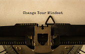 Text Change Your Mindset typed on retro typewriter