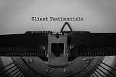 Text Client Testimonials typed on retro typewriter