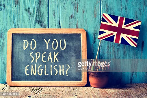 text do you speak english? in a chalkboard, filtered : Stock Photo