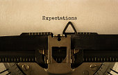 Text Expectations typed on retro typewriter,stock image