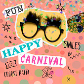 text happy carnival, as paper cutouts, a pair of fake black glasses with eyebrows, a pineapple with sunglasses, on a pink background patterned with geometric figures, as a contemporary art collage