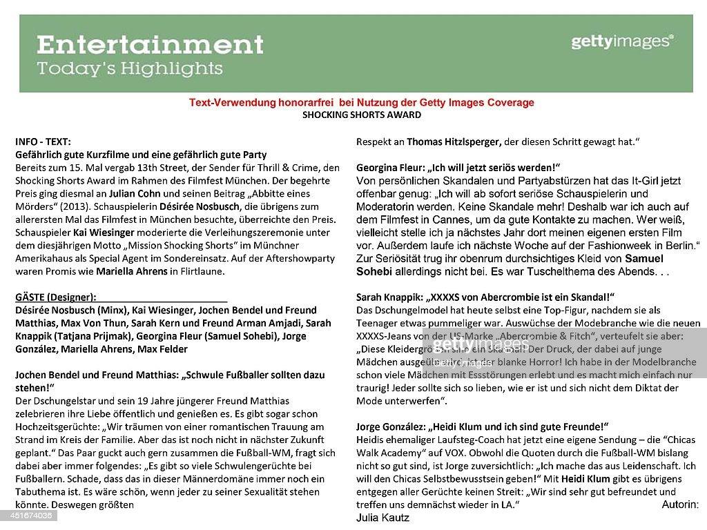 Text Information by Julia Kautz for the 'Shocking Shorts Award 2014 at Amerika Haus.