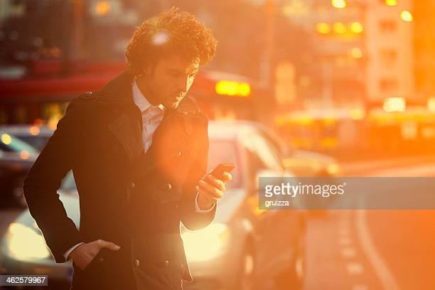 Message SMS au milieu du trafic jam