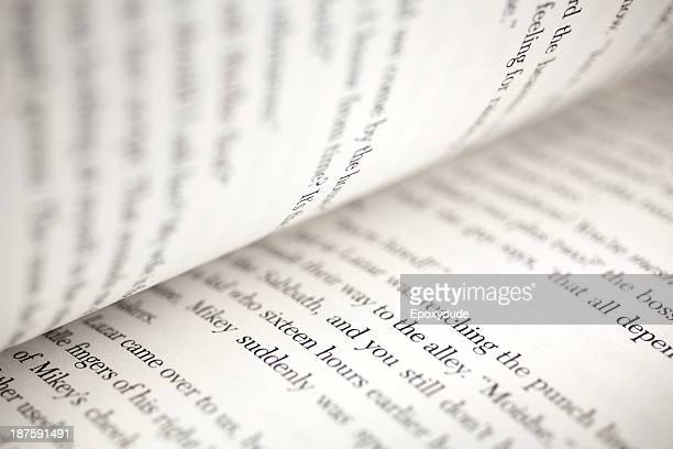 Text on the pages of an open book, extreme close-up