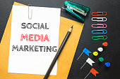 Text social media marketing on white paper background / business concept