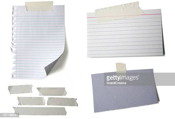 'Text Wanted' Blank Papers with Tape White Background