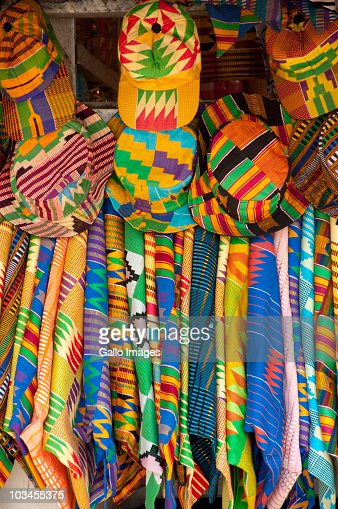 Textile and Handicraft Market, colorful West African fabrics, Accra, Ghana