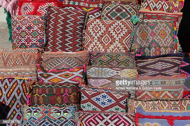 Textile crafts for sale in the souks of Marrakech