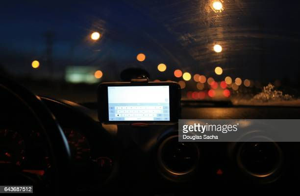Texting cellphone in a moving automobile