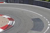 Texture of Motor Race Asphalt and Curb on Monaco Montecarlo Grand Prix Street Circuit