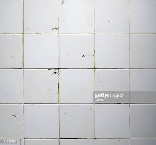 質感の旧タイル壁に割れ目