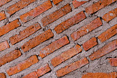 texture pattern of ed brick on cement wall use for background