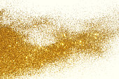 Textured background with golden glitter sparkle on white