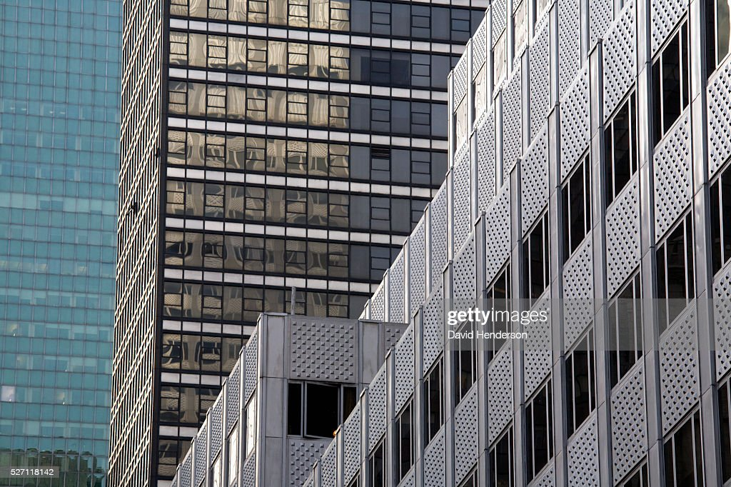 Textures and reflections on skyscrapers : Stock Photo